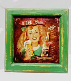 A wooden frame with old advertisment picture on rice paper
