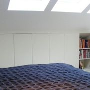 Brian and Michael: Concealed book shelves - modern - Bedroom - London - Exploit Space Eaves Storage, Loft Storage, Bedroom Storage, Storage Spaces, Storage Ideas, Eaves Bedroom, Bedroom Loft, Modern Bedroom, Build A Dressing Table