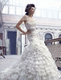 Bridal Gowns: Lazaro Mermaid Wedding Dress with Strapless Neckline and Dropped Waist Waistline