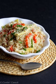 Lemon Quinoa with Artichokes, Roasted Peppers and Basil...A healthy springtime side dish.  170 calories and 4 Weight Watchers PP | cookincanuck.com #recipe #vegan
