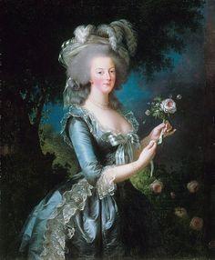 Ritratto di Maria Antonietta con la rosa, dipinto di Élisabeth Vigée-Le Brun, 1783.