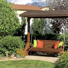 The finest best built Bench Swing Sets on the market. These lovely garden bench swings are truly built to last decades in any weather. Outdoor Patio Swing, Outdoor Decor, Outdoor Ideas, Bench Swing, Wooden Swings, Swing Sets, Best Build, Lawn And Garden, Pergola