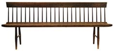Rare Shaker Bench  Estimate: $20,000 – $40,000 Birch and pine, original dark finish, 24 finely tapered spindles, shaped pine plank seat, fo...