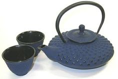 Japanese Cast Iron Teapot Set with matching tea cups