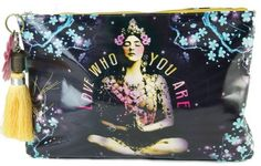Papaya Art Love Who You Are Temple Girl Graphic Arts Design Oil Cloth Cosmetic or Accessory Travel Bag by Papaya Art. $28.99. Wipes clean. Beautiful print on oil cloth zippered pouch. 14 in x 9 in x 2 in base. Vegan-friendly. Blue cherry blossom branches print microfiber lining. Large accessory bags help you organize your life on the go! Perfect for cosmetics, art supplies, tech gadgets, magazines, documents, and life's daily ephemera. Lined with blue cherry bloss...