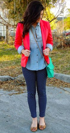 Polka dot jeans with light chambray top, bright blazer, long Aztec pendant, brown flats or low wedges
