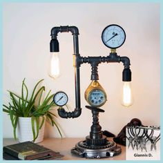 Industrial steampunk desk lamp home decor - All For Lamp İdeas Steampunk Desk, Unique Table Lamps, Edison Lamp, Plumbing Pipe, Pipe Lamp, Industrial Table, Ceiling Lamp, Desk Lamp, Floor Lamp