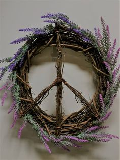 Lavender Peace Sign Wreath, Peace Sign Grape Vine Wreath, Spring Wreath, Peace Sign, Grape Vine Wreath, Lavender Wreath, Grapevine wreath by AmericanGreenCrafts on Etsy