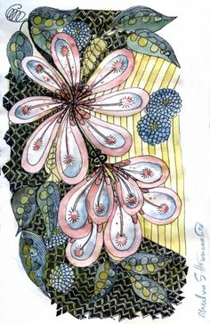 Art flower with inks and watercolor - More doodle ideas - Zentangle - doodle - doodling - zentangle patterns. zentangle inspired - #zentangle #doodling #zentanglepatterns