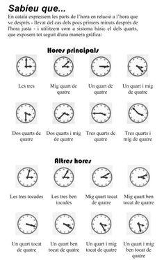Les hores en català Catalan Language, National Language, Study Motivation, Sayings, Learning, Words, Andorra, Delaware, School