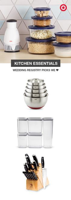 The right kitchen staples can make meal prep a breeze. Get a set of stainless steel mixing bowls with non-slip bottoms, so you have plenty on hand. OXO Pop containers are air-tight, stackable and clear for easy access to your pantry. And this 14-piece J.A. Henckels knife block has everything you need to slice, dice and chop your way to a lifetime of delicious meals. You'll want all of them on your wedding registry.