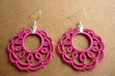 Azalea pink tatted lace hoop earrings