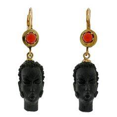 Vintage Italian 14kt Coral & Carved Blackamoor Earrings