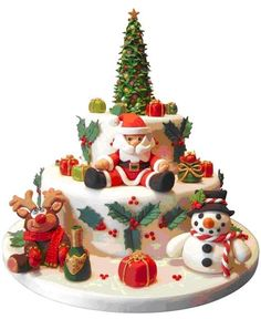 25 Beautiful Christmas Cake Decoration Ideas and design examples Image detail for -sweet christmas time christmas cake decorated with figures made from . Christmas Cake Designs, Christmas Cake Decorations, Christmas Cupcakes, Christmas Sweets, Holiday Cakes, Noel Christmas, Christmas Goodies, Christmas Baking, Xmas Cakes