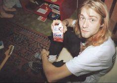 Kurt Cobain drinking a strawberry milk