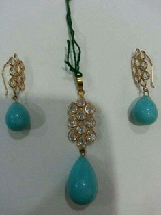 Turquoise drop earrings and Pendant