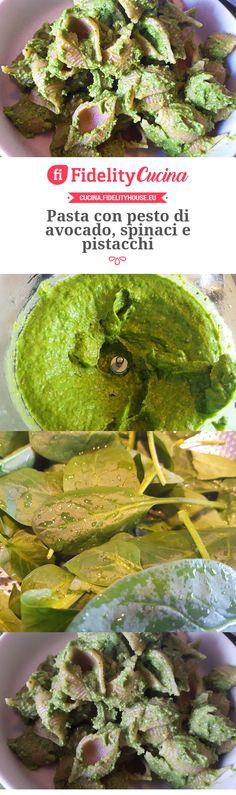 Pasta con pesto di avocado, spinaci e pistacchi