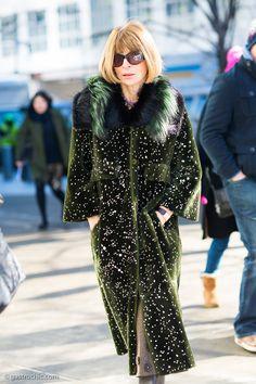 Anna Wintour wore a beautiful white-flecked green fur coat to Jason Wu's Hugo Boss show yesterday.