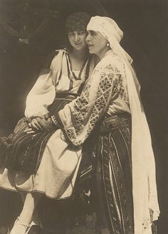 Queen Marie of Romania and her daughter, Princess Ileana. The Royal Family wore the traditional outfits in order to integrate with their adopted country of Romania. Queen Marie was one of the strongest and most visionary ambassadors of the Romanian Blouse Princess Victoria, Queen Victoria, Romanian Royal Family, British Royal Families, Folk Embroidery, Embroidery Stitches, Embroidery Designs, Queen Mary, Royal Weddings