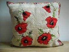 Handmade Throw Pillow Embroidered Needlepoint with by EMWvintage, $20.00