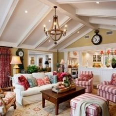 Living Room , Best Country Style Living Rooms : Adorable French Country  Style Living Rooms With Striped And Floral Accents And Beige Wall Color And  Vaulted ...