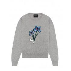 Markus Lupfer - Light Grey Sequin Flower and Jumping Bunny Grace Jumper - Women