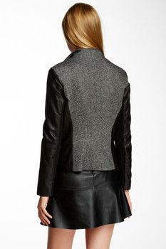Cole Haan Leather & Wool Blend Jacket