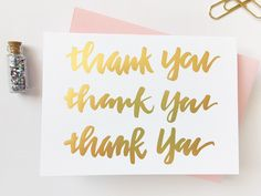 Thank You! Thank You! ThankYou! Set of 5 Hand-lettered Gold Foil Brush Calligraphy Cards