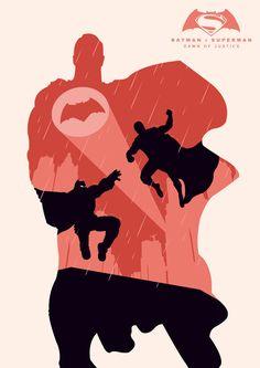Batman v Superman by Andy Grail (Superman version) by abonny on DeviantArt Superman Party, Batman Vs Superman, Batman Art, Dc Comics Superheroes, Dc Comics Art, Batman Comics, Superman Man Of Steel, Minimal Movie Posters, Nerd Art