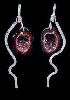 Baby agate geode earrings. Sterling silver