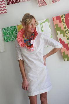 I love a big ruffle around the neck!  Gorgeous, from DevonBaerDesigns on Etsy.