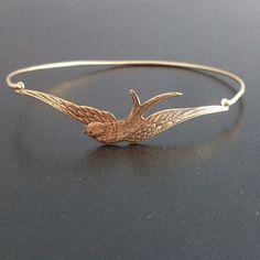 Swallow Bangle Bracelet - Gold. $17.95, via Etsy.