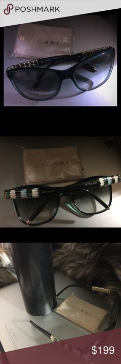 BVLGARI Serpenti New Sunglasses Hint of blue jewel on rims brand new BVLGARI Bulgari sunglasses with round black case and untouched cloth. Retails $450. Reasonable offers considered. Bulgari Accessories Glasses