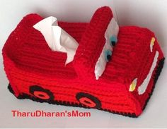Lightning McQueen Cars Tissue Box Cover/crochet pattern/instant download/PDF File. Skill level The skill level is for beginner, however you should already know the basic stitches like chain, single crochet, half dou-ble crochet. you should know how to cro-chet in rows as well as how to make use of back loops and front loops. Materials Acrylic yarn Red, Black yarn Suggested yarn: Daiso Acrylic Medium Thick Yarn Deodorant Yarn weight : Bulky / 12 ply (7 wpi) 5.5 mm...