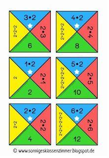 Sonniges Klassenzimmer: Legespiel Einmaleinsquadrate (2er Reihe)
