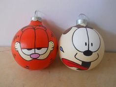 Garfield and Odie hand painted ornament set by GingerPots on Etsy, $20.00