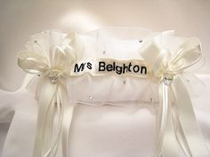 'Cora' style personalised garter with 40 Swarovski rhinestones and 2 stunning Swarovski AB love hearts