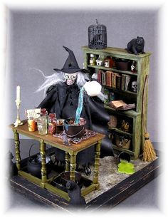 mini Halloween craft - a diy vignette of witch at table with potions & bookcase with spell 7 charm books etc.