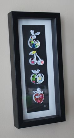 Unique Framed Quilled Paper Art: Fruits / Wall Art / Promotional Price 10% off by ArtsShopAP on Etsy