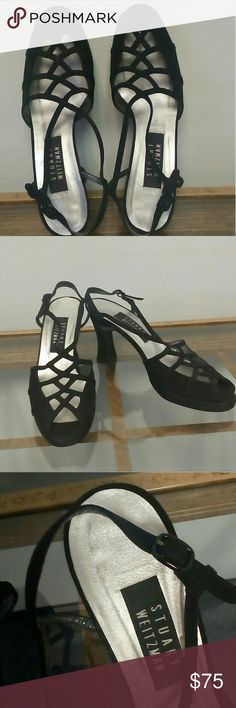 Stuart Weitzman Peep Toe Slingbacks. Size 7.5 Elegant black suede strapped cut out peep toe slingbacks. 3 inch heels. Thin adjustable back straps. Normal wear on soles otherwise this is a pristine beautiful shoe. Made in Spain. Stuart Weitzman Shoes Heels