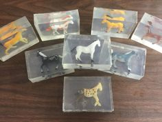 These are clear glycerin soaps with little horses embedded in each bar. These are not intended for children under three years old as the toy could be a choking hazard. Glycerin soap is gentler on skin