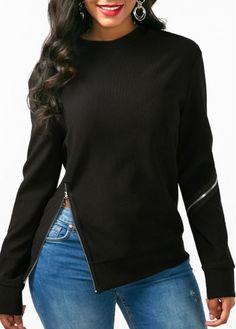 Black Long Sleeve Zipper Embellished Sweatshirt on sale only US$33.77 now, buy cheap Black Long Sleeve Zipper Embellished Sweatshirt at liligal.com