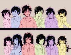 Todomatsu, Karamatsu, Osomatsu, Choromatsu, Ichimatsu & Jyushimatsu and their genderbends Anime Chibi, Kawaii Anime, Manga Anime, Anime Art, Anime Love, Anime Guys, Osomatsu San Doujinshi, Otaku, Anime Group