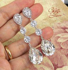 Wanetta - Silver Teardrop Crystal Earrings, Bridesmaid Earrings, Bridal Wedding Jewelry, Swarovski Crystal Drops on Etsy, $31.80