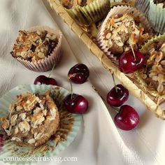 These vegan cherry muffins are bursting with summer cherries and sprinkled with a toasted oat and coconut topping.