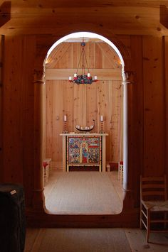 Inside stave church