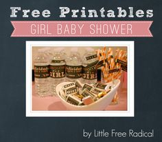 FREE Baby Chalkboard-style Girl Baby Shower Printables - water bottle labels, flags for paper straws & candy wrappers