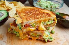 Bacon Guacamole Grilled Cheese Sandwich.
