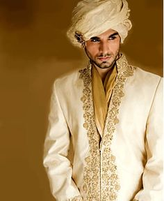 White and gold sherwani -- very handsome classy look