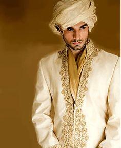 White and gold sherwani -- very handsome classy look